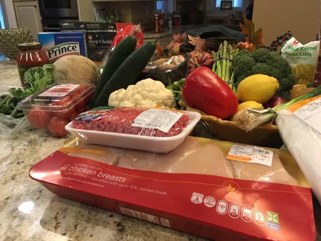 Food bought at Stop and Shop for family dinners