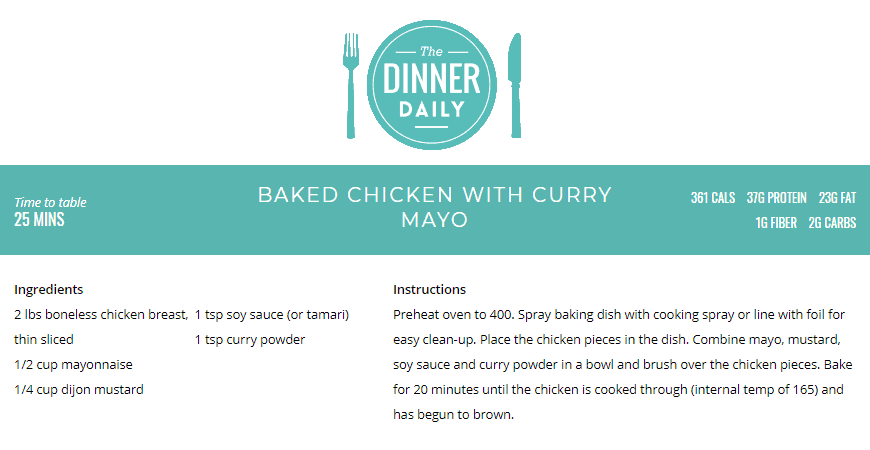Baked Chicken with Curry Mayo Recipe