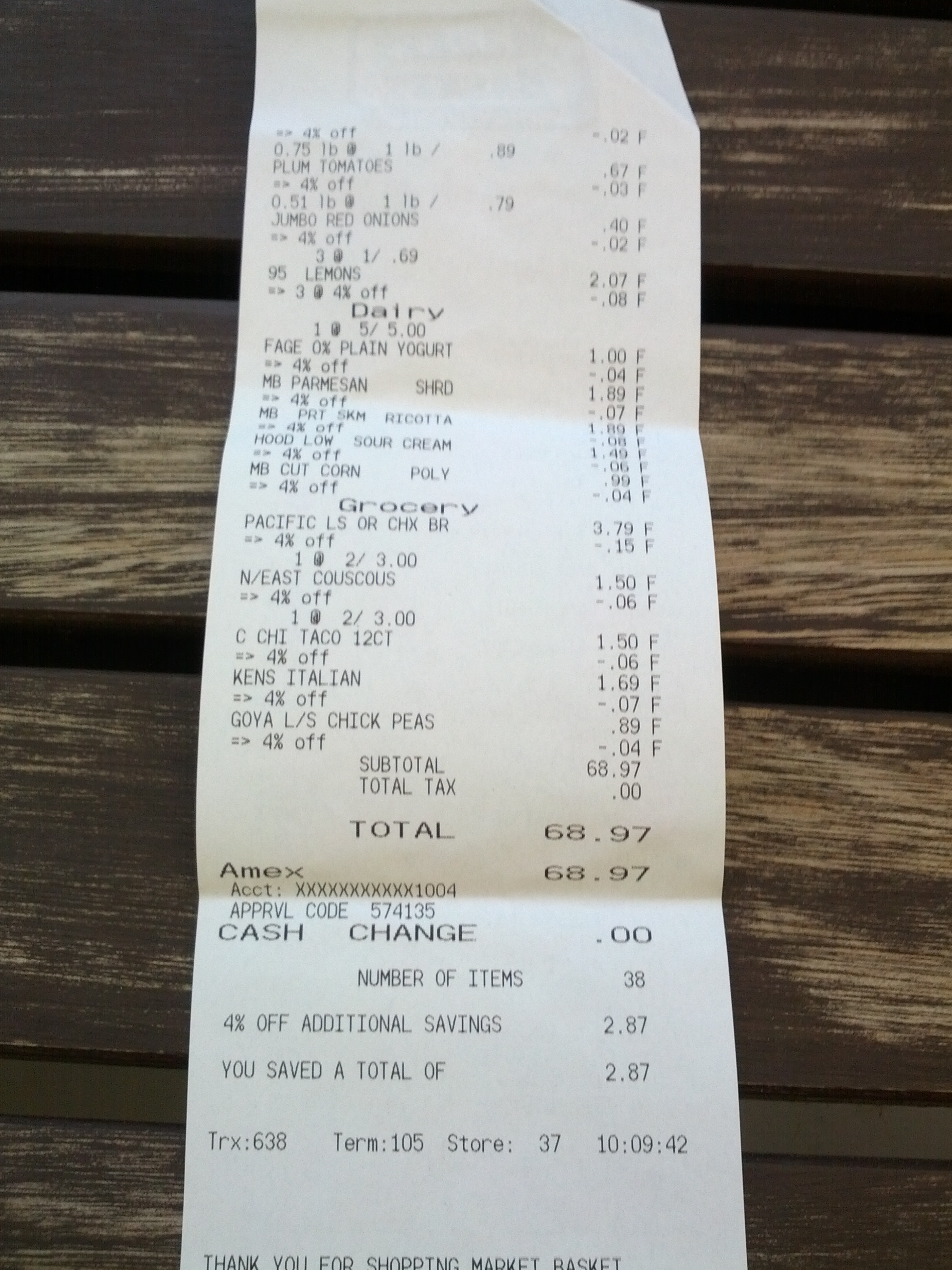 Total receipt Market Basket